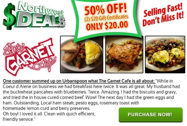 KHQ NW Deals: Your choice, Rosa's Pizza or The Garnet Cafe, only $25 each!