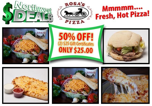 KHQ NW Deals: Rosa's Pizza, only $25 for $50 in food!
