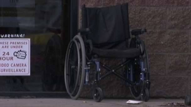 The victim's wheelchair discovered 10 feet away from body