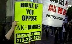 Americans protesting AIG bonuses
