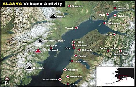 Alaska volcano activity map
