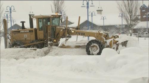 Plow in Spokane Valley on Christmas Eve