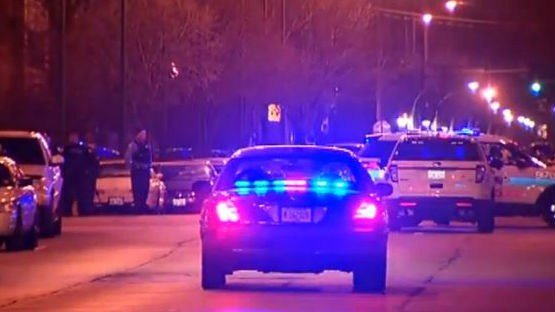 The scene in Chicago where 3 officers were wounded and one man was killed. Photo: NBC