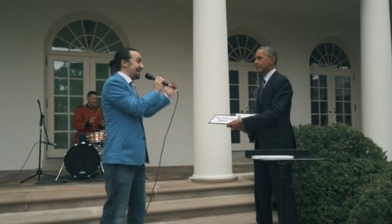 Lin-Manuel Miranda gives a freestyle rap performance for President Obama.