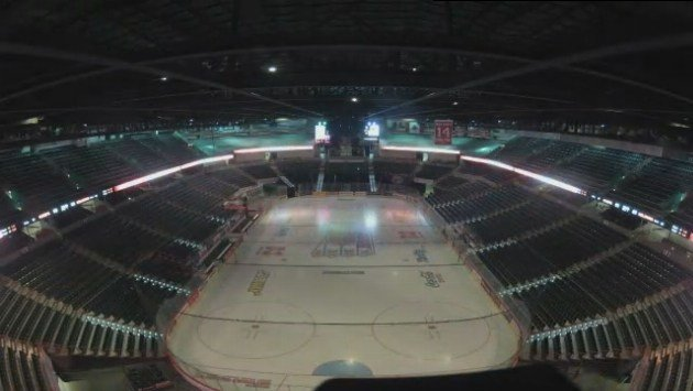 The Spokane Arena had to change from hockey to basketball pretty quickly
