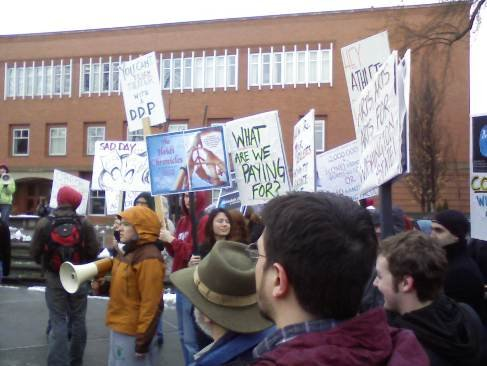 Student rally at WSU protesting budget cuts on April 2, 2009
