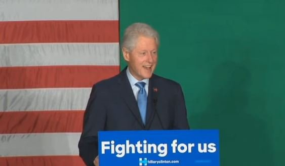Bill Clinton speaks at a Hillary Clinton rally at Spokane Falls Community College Monday