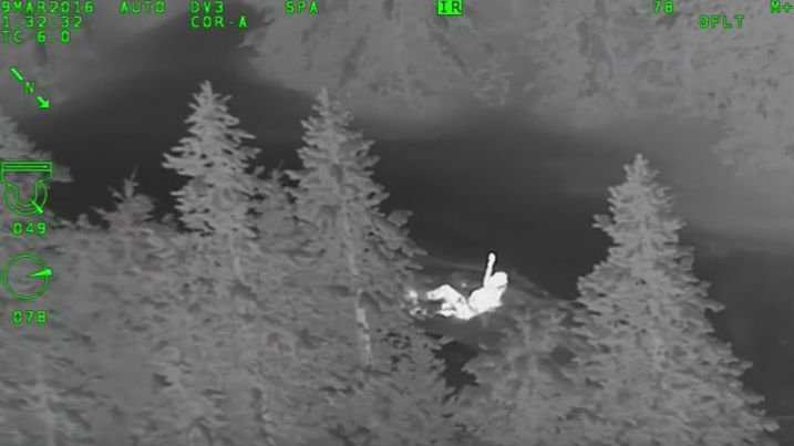 A 19-year-old man who believed his friends were stuck in an avalanche was seriously injured when he crashed his speeding snowmobile into a metal gate as he rode to their rescue in the dark. Photo: YouTube/Jim Pierce