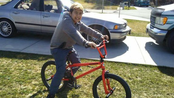 Brandon with his new bike