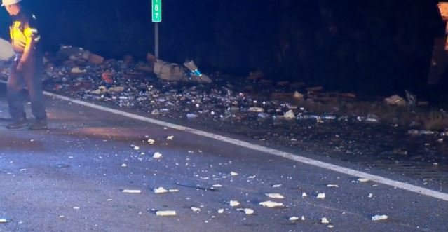 A beer truck collided with a chip truck Wednesday in Florida
