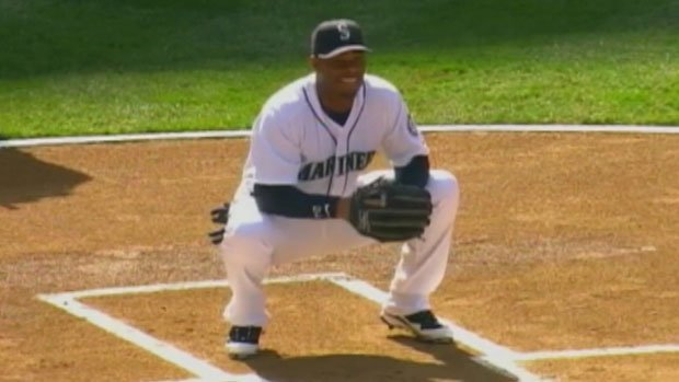 Ken Griffery Jr. was 1-for-3 with a walk in his first game back as a Mariner.  He also caught the opening pitch (Photo: FSN)