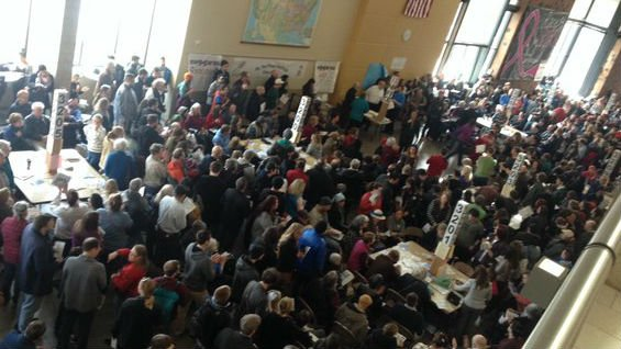 The crowd inside Ferris High School Saturday.