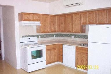 Kitchen inside a renovated apartment unit