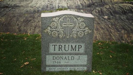 The mysterious headstone for Donald Trump. Photo: Sachin RB/Instagram