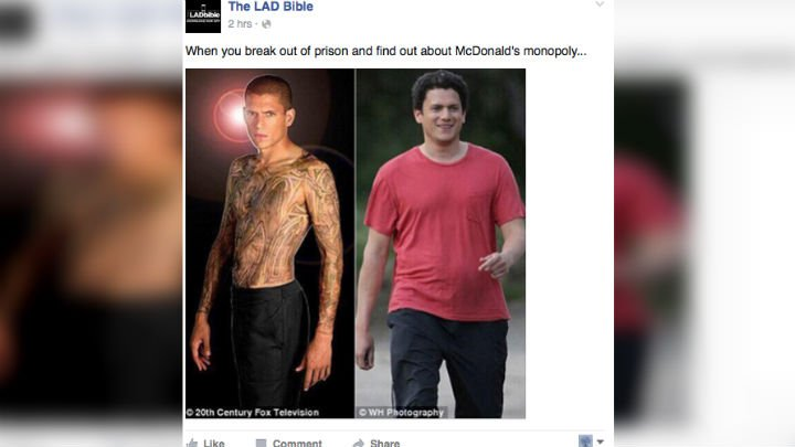 Actor Wentworth Miller's note in response to this meme has gone viral. Photo: Wentworth Miller/Facebook