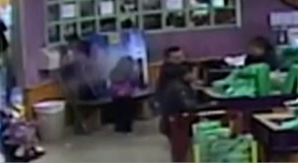 Video shows the two children nearly getting shot