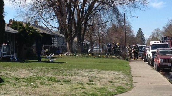 The scene of a house fire Saturday afternoon.