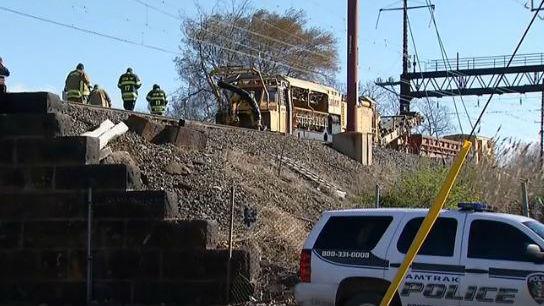 The scene of an Amtrak crash in Pennsylvania. Photo: NBC
