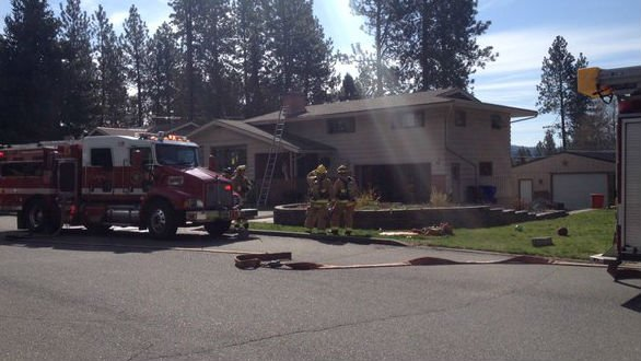The scene of a fire in Spokane Valley