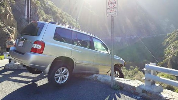The scene of the crash in Malibu. Photo: Lost Hills Sheriff's Station/Facebook