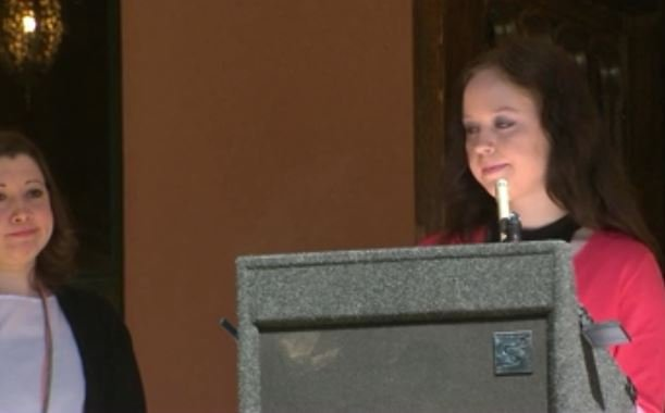 Emily Keenan held a press conference about the settlement on Thursday