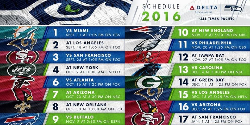 The Seattle Seahawks 2016 NFL schedule