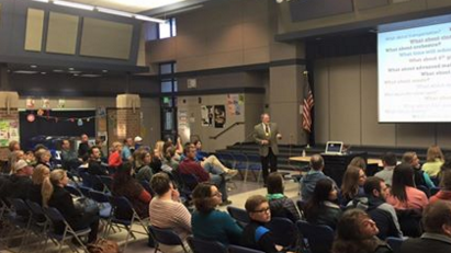 Parents and district members discussed overcrowding at Mead elementary schools Thursday night.