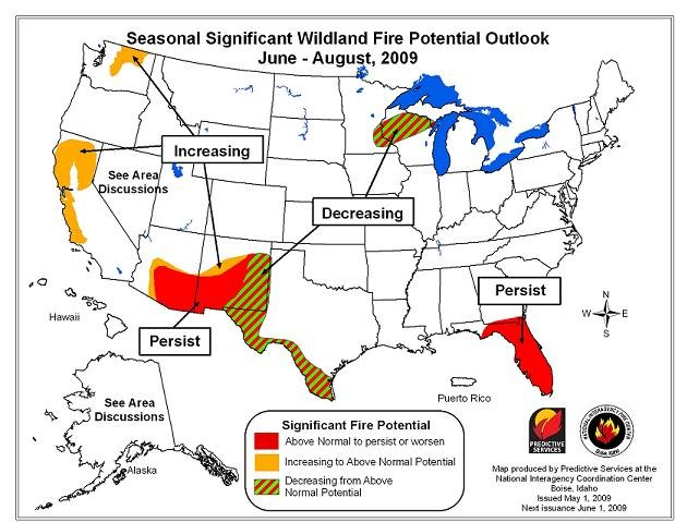 Wildland Fire Potential Map for June-August 2009 from the NIFC