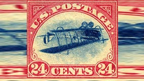 """The """"Inverted Jenny"""" stamp. Photo: National Postal Museum"""