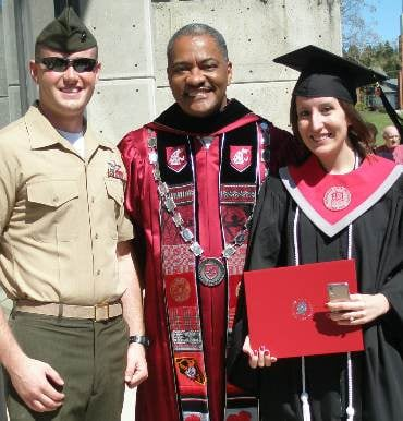 WSU President Elson Floyd and recently engaged couple Erica Mettler and Devon Schefano