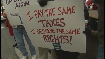 Protest sign from same-sex rights rally in Spokane (November 2008)