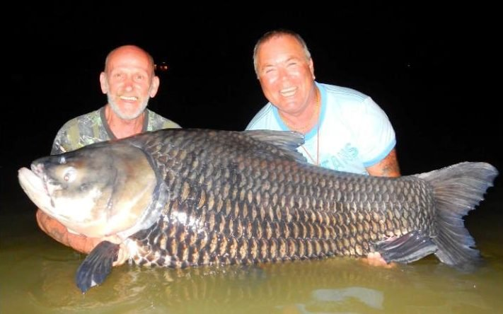 Paul Fairbrass (right) and Cliff Dale with their 180-lb catch.