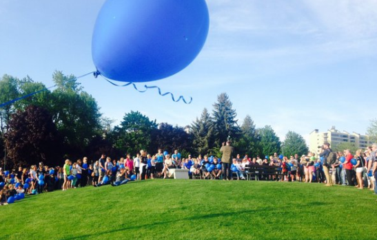 Friends, loved ones, and colleagues released balloons at Independence Point.