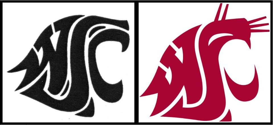 The original 1936 logo was slightly altered when Washington State College became Washington State University in 1959.