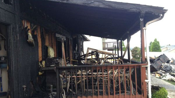 A fire ripped through a home in north Spokane Sunday.