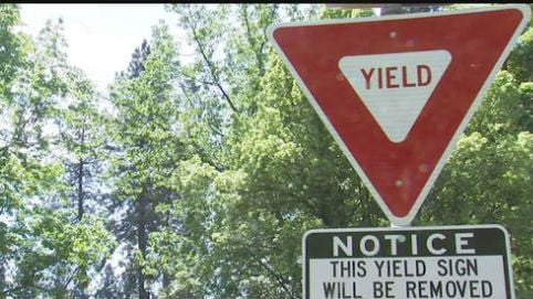 This yield sign is scheduled to be removed.