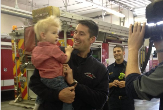 The crew at this firehouse knows little Grayson on a first name basis.