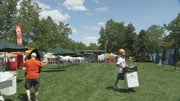 Not only is Hoopfest weekend a big one for participants, it's also a profitable one for businesses who've already set up their wares in Riverfront Park (Photo: KHQ)