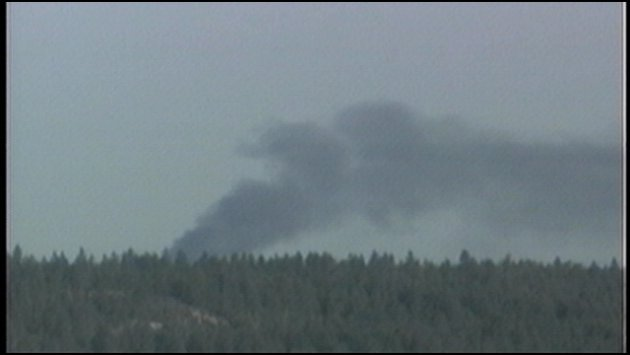 Plume of smoke from Medical Lake house fire