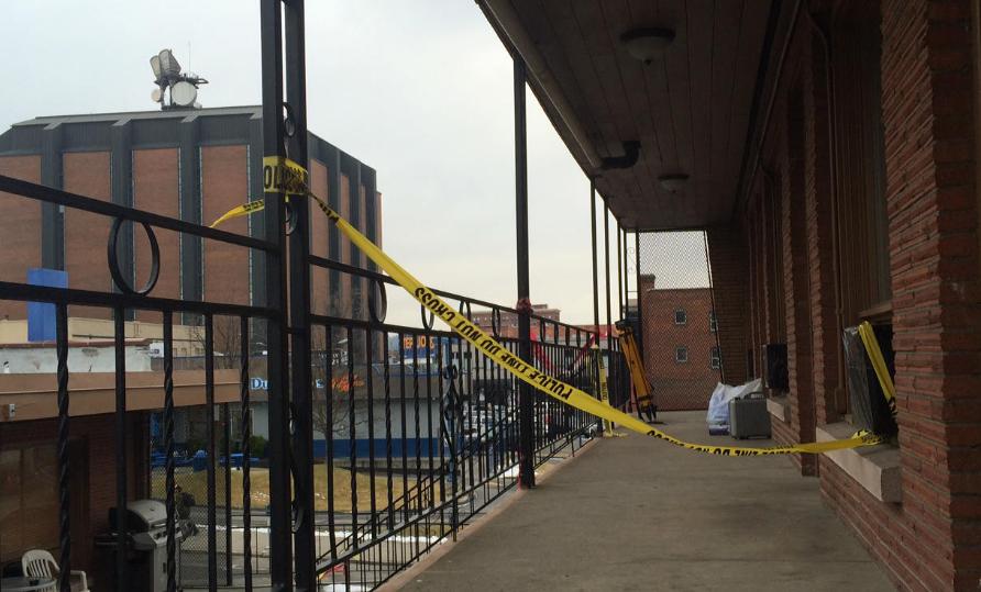 Crime scene tape outside the room where Shawna Wyatt was murdered