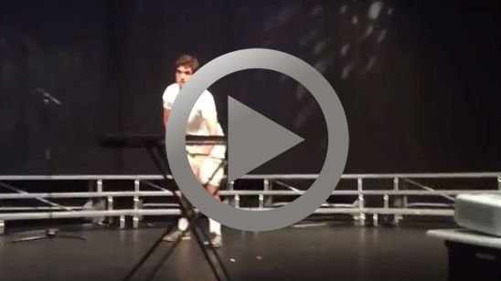 Kid Perfectly Flips Water Bottle At High School Talent Show