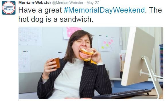 "Webster boldly sent out this tweet to kick of ""Hot Dog Season"""