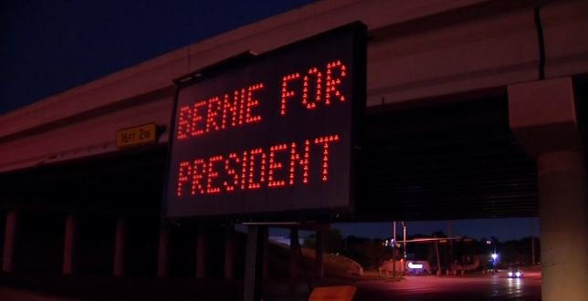 Hackers appeared to be giving their support to Bernie Sanders
