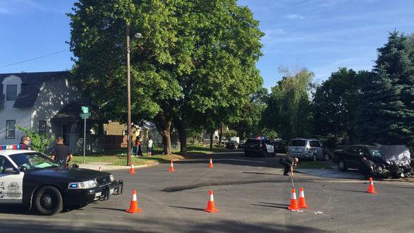 The scene of a four-car crash in North Spokane.