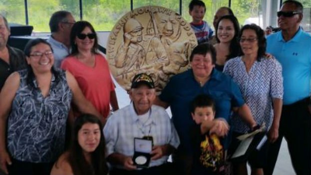 Code talker Louis Levi Oakes was honored Saturday at the Mohawk Indian reservation where he lives in New York. (PHOTO: Twitter/@ChrisStrikerTV)
