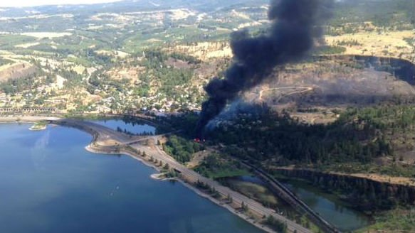 Federal authorities say crews have extinguished a fire at the site of an oil train derailment in Oregon's Columbia River Gorge, but evacuations remain in place. Photo: WA Dept of Ecology