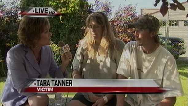 Shelly interviews Tara Tanner, who was attacked by the suspect, her husband (right) was not home at the time of the attack
