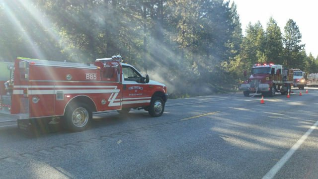 The scene of a small brush fire off Highway 27.