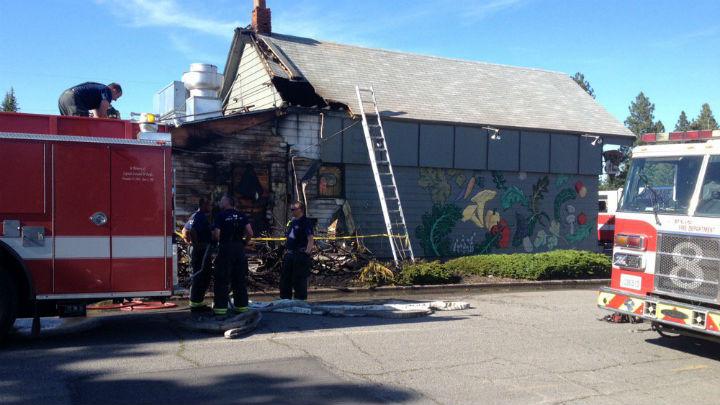 The scene of a fire in North Spokane Sunday.