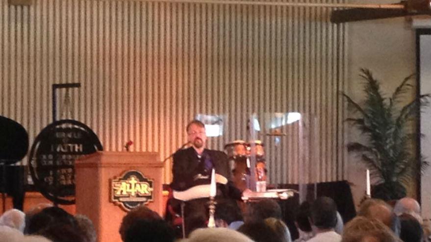 Pastor Tim preaching Sunday.